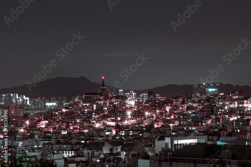 building of the city with modern buildings in Korea, night view Wallpaper Mural