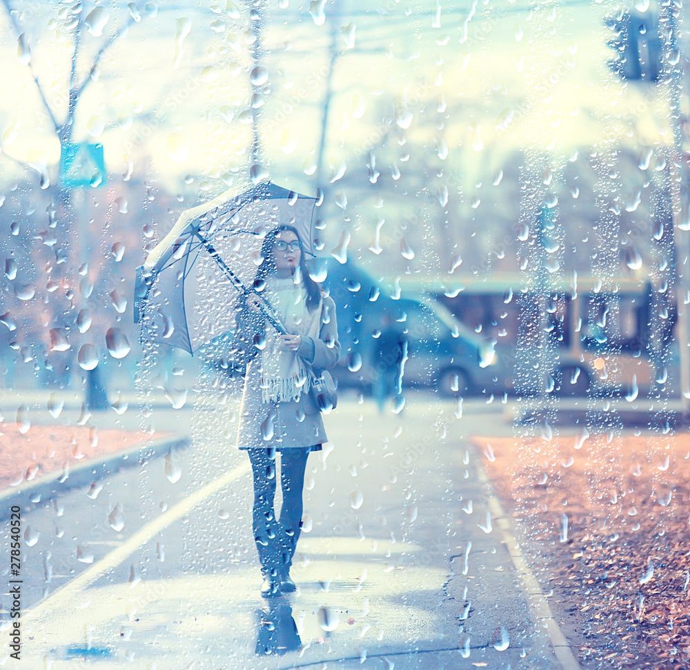 Fototapety, obrazy: young woman umbrella autumn / autumn trendy look, model with umbrella, rainy cold weather