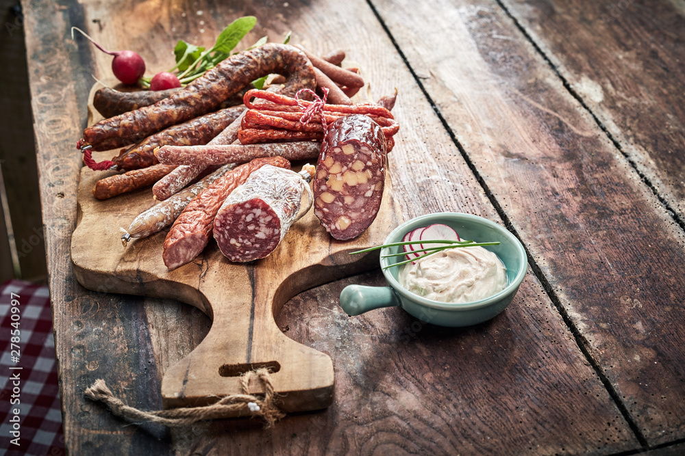 Fototapety, obrazy: Buffet selection of dried spicy venison sausages