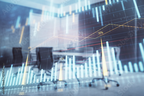 Photo  Multi exposure of stock market graph on conference room background