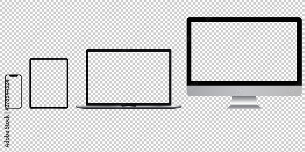 Fototapety, obrazy: Realistic set of phone, tablet, laptop, pc with transparent screens. Vector graphic