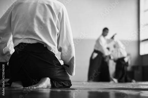 Obrazy Sztuki Walki  aikido-training-black-and-white-image-the-teacher-shows-reception-traditional-form-of-clothing