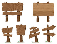 Wood Sign Boards With Different Shapes On A White.