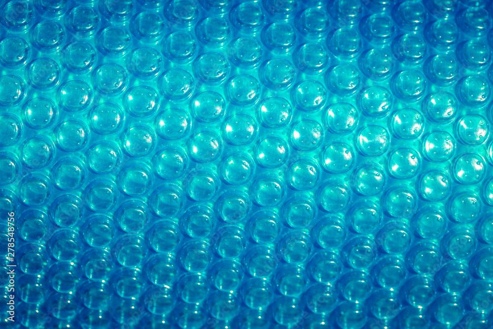 Fototapety, obrazy: Plastic blue bubble wrap texture background, close up.