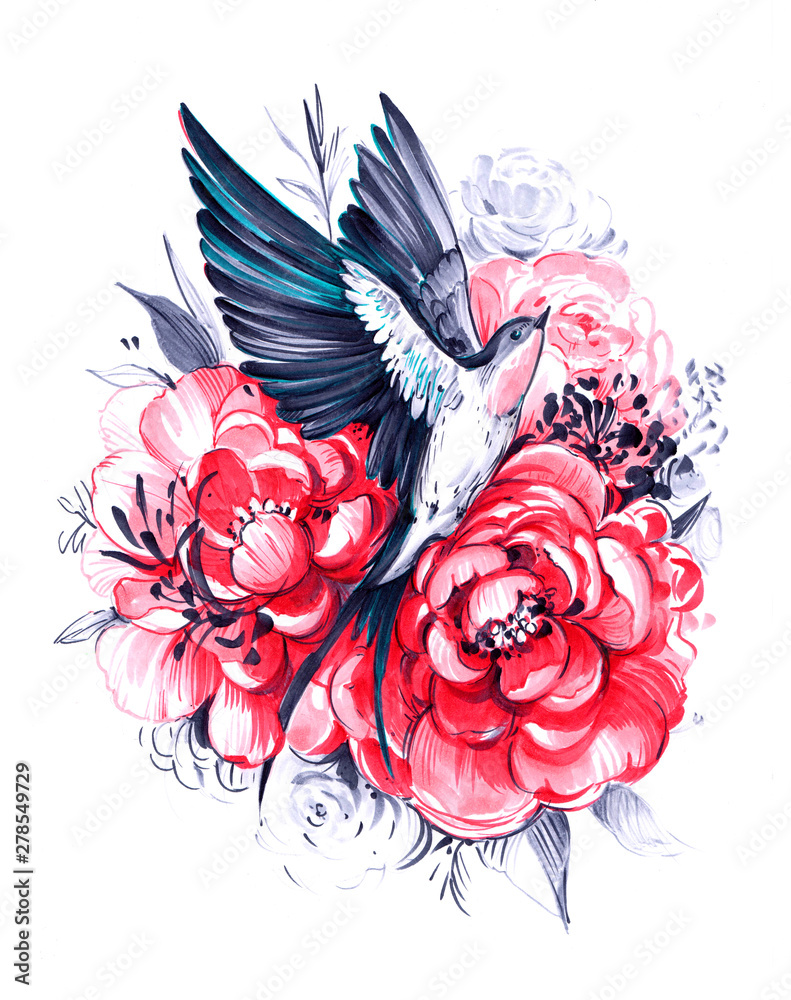 Fototapety, obrazy: Flying swallow with peony flowers. Hand drawn illustration. Great for print, t-shirt and other