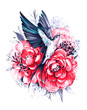 Flying swallow with peony flowers. Hand drawn illustration. Great for print, t-shirt and other