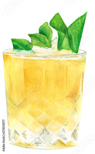 Valokuvatapetti Watercolor illustration of a traditional alcoholic cocktail mint julep in a glas