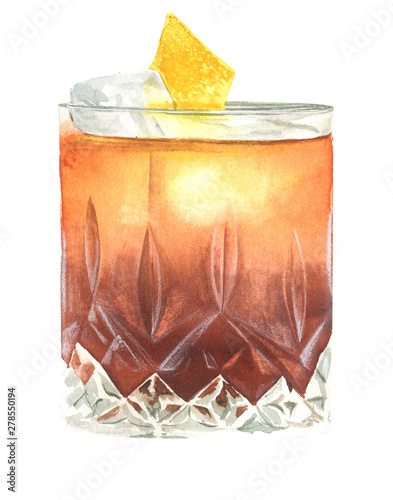 Obraz watercolor illustration of old fashioned cocktail - fototapety do salonu