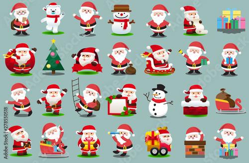 Printed kitchen splashbacks Illustrations Santa Clauses set for christmas