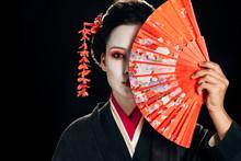 Attractive Geisha In Black Kim...