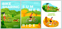 Vector Summer Posters Set - Bike Riding Activities. Forests, Trees And Hills On Background. Print Template With Place For Your Text.