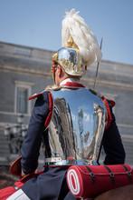 Guardia Real A Caballo En El Palacio Real De Madrid
