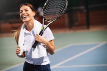 Happy Fit Girl Playing Tennis ...