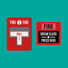 Fire Alarm Icon. Red Alarm Vector.  Pull Danger Fire Safety Box