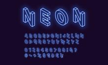 Neon Isometric Alphabet, Blue ...
