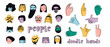 Hand drawn big set of people faces and popular hand gestures. Perfect for social media, websites, avatars. Trendy icons collection. Vector illustration. All elements are isolated