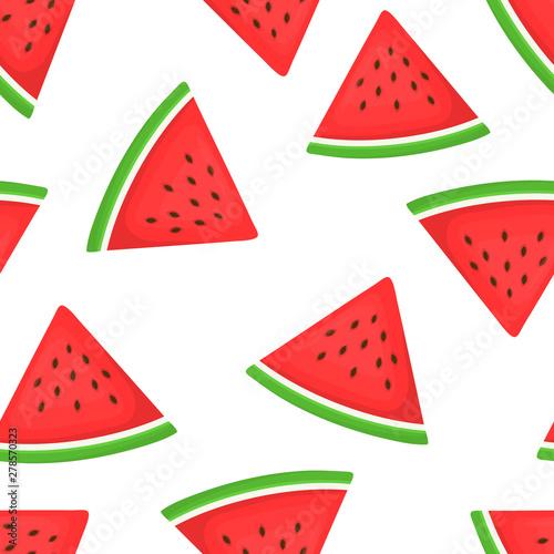 Poster Retro sign Seamless background with watermelon slices. Vector illustration