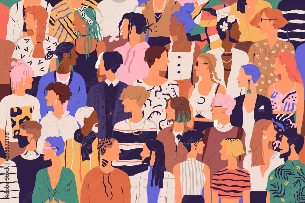 Fototapety, obrazy: Crowd of young and elderly men and women in trendy hipster clothes. Diverse group of stylish people standing together. Society or population, social diversity. Flat cartoon vector illustration.
