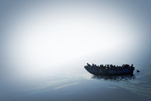 Illustration Of A Refugee Boat On The Sea In Bright Misty Color And Mysterious Atmosphere.Hopeless People. 3D Render.