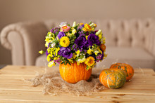Autumn Floral Bouquet In A Pum...