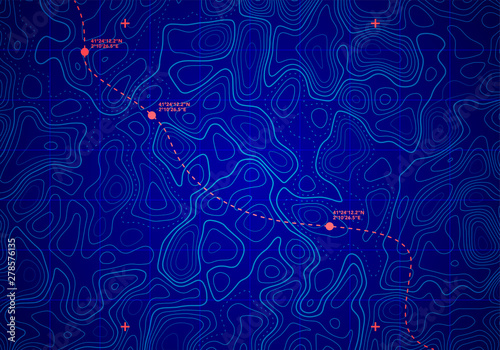 Vector Sea Depth Topographic Map With Route And Coordinates Conceptual User Interface Blue Abstract Background Fototapeta