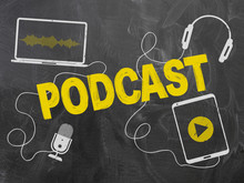 Podcasting Concept On Blackboard Or Chalkboard With Microphone And Headphones