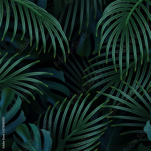 Branch palm realistic. Leaves and branches of palm trees. Tropical leaf background. Wall mural