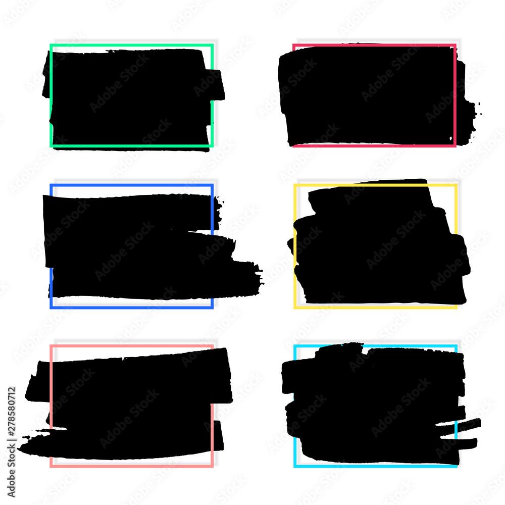 Fototapety, obrazy: Grunge backgrounds set. Brush black paint ink stroke over square frame. Vector illustration