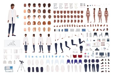 African American woman scientist or scientific worker constructor set or DIY kit. Collection of female body parts and lab equipment isolated on white background. Flat cartoon vector illustration.