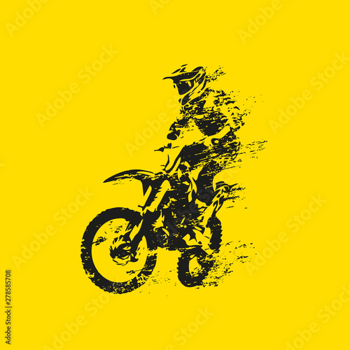 Pinturas sobre lienzo  Motocross rider on his bike, abstract grunge vector silhouette