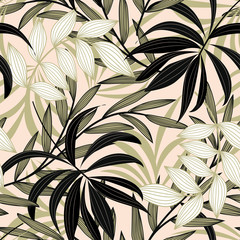 FototapetaTrend abstract seamless pattern with colorful tropical leaves and plants on a delicate background. Vector design. Jungle print. Flowers background. Printing and textiles. Exotic tropics. Fresh design.