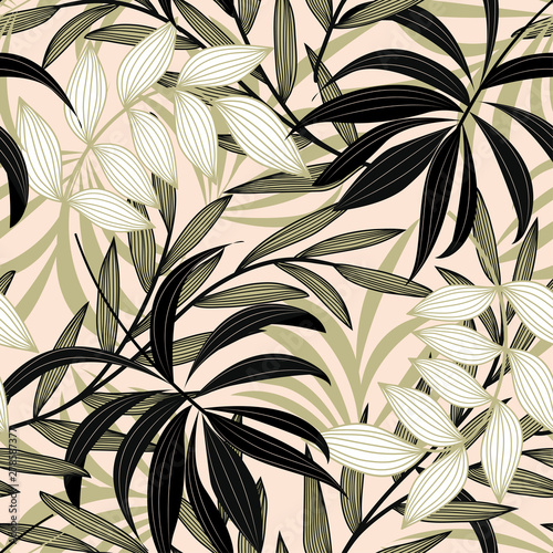 trend-abstract-seamless-pattern-with-colorful-tropical-leaves-and-plants-on-a-delicate-background-vector-design-jungle-print-flowers-background-printing-and-textiles-exotic-tropics-fresh-design