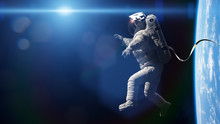Astronaut Performing A Spacewalk In Orbit Of Planet Earth