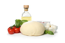 Composition With Dough And Fresh Ingredients For Pizza Isolated On White
