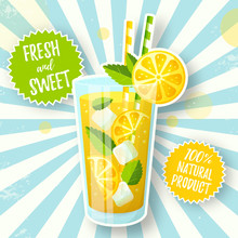 Banner With Lemonade In Retro Style