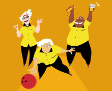 Three Active Seniors Playing Bowling, EPS 8 Vector Illustration
