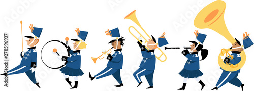 Carta da parati Cute children playing instruments in a marching band parade, EPS 8 vector illust