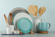 Set Of Kitchenware On Grey Mar...