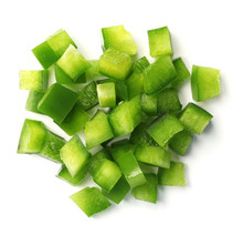 Pile Of Chopped Green Bell Pepper On White Background, Top View