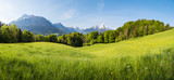 Fototapeta Na ścianę - Scenic panoramic view of idyllic rolling hills landscape with blooming meadows and snowcapped alpine mountain peaks in the background on a beautiful sunny day with blue sky and clouds in springtime