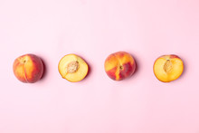 Sweet Juicy Peaches On Pink Background, Top View