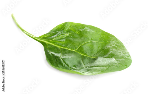Fresh green healthy baby spinach leaves isolated on white