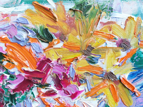 Foto op Aluminium Paradijsvogel bloem Abstract expressive striking colorful oil painted texture.