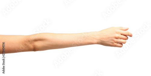 Fotografia Young woman holding hand on white background, closeup