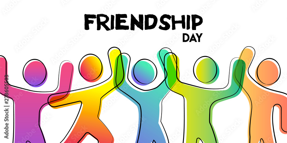 Fototapety, obrazy: Friendship Day card of colorful friend group