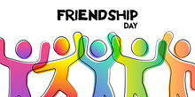 Friendship Day Card Of Colorful Friend Group
