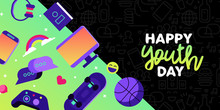 Happy Youth Day Card Of Fun Teen Leisure Activity