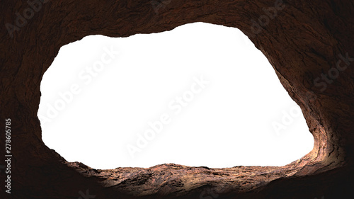 Fotografiet cave opening, mysterious den entrance in bright light