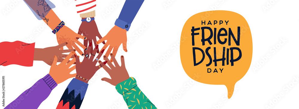 Fototapeta Friendship Day banner of diversity people hands