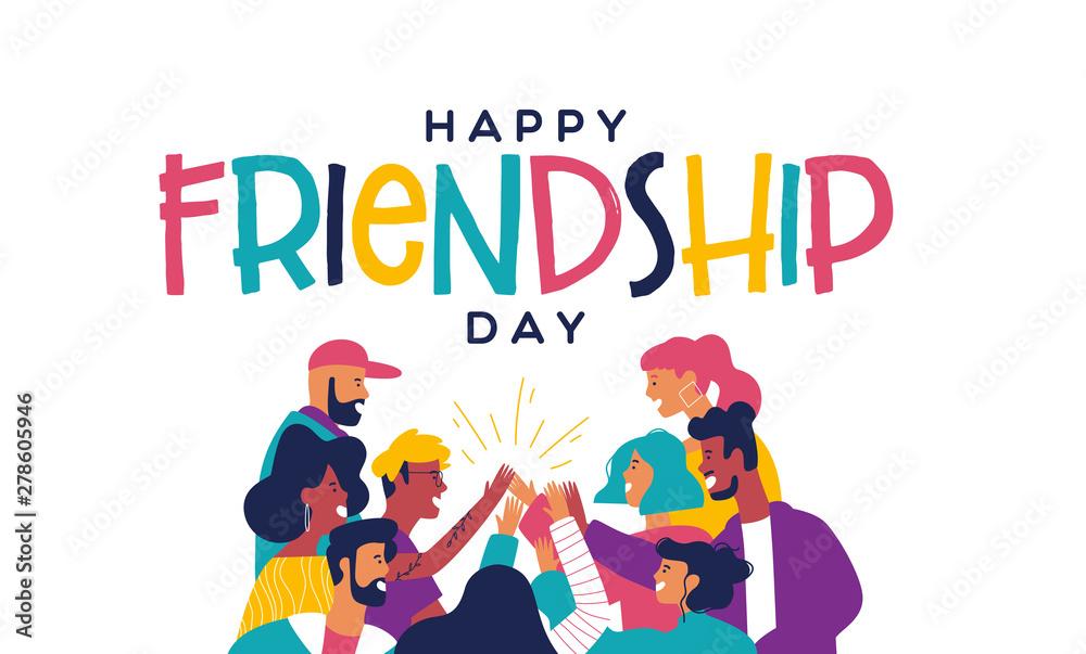 Fototapeta Friendship day card friend group doing high five